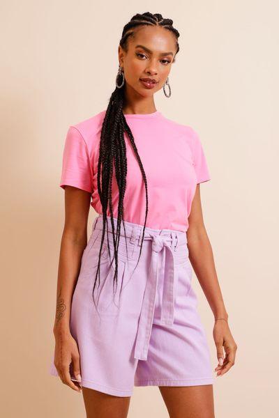 Camiseta Algodão Basic Rosa P