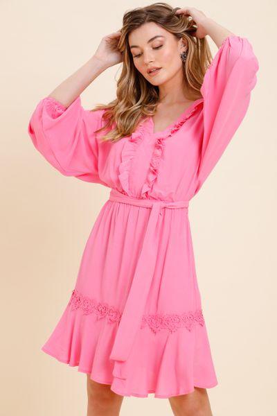 Vestido Curto Amplo Renda Corações Rosê 36